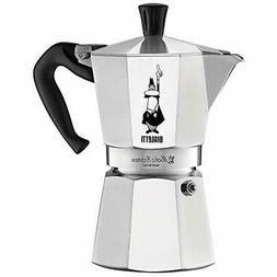 06800 Moka Stove Top Coffee Maker, 6-Cup, Silver Stovetop Es