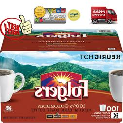Folgers 100% Columbian Medium Roast Coffee 100 ct K-Cup Keur