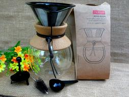 Bodum 11682-109 Glass  Double Wall Pour Over Coffee Maker wi