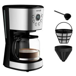 12 Cup Coffee Maker Glass Carafe Easy Fill Easy Clean Coffee