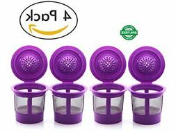 4 Pack Reusable Single K-Cup Coffee Filter Pod for 2.0 & 1.0