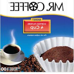 Mr. Coffee Basket Coffee Filters, 4 Cup, White Paper, 100-Co