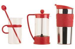 Bodum Bistro Coffee Set Cafetiere Travel Mug Cup Stirrer Mak