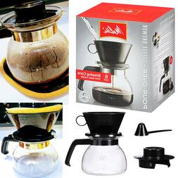 Melitta Coffee Maker 6 Cup Pour-Over Brewer with Glass Caraf