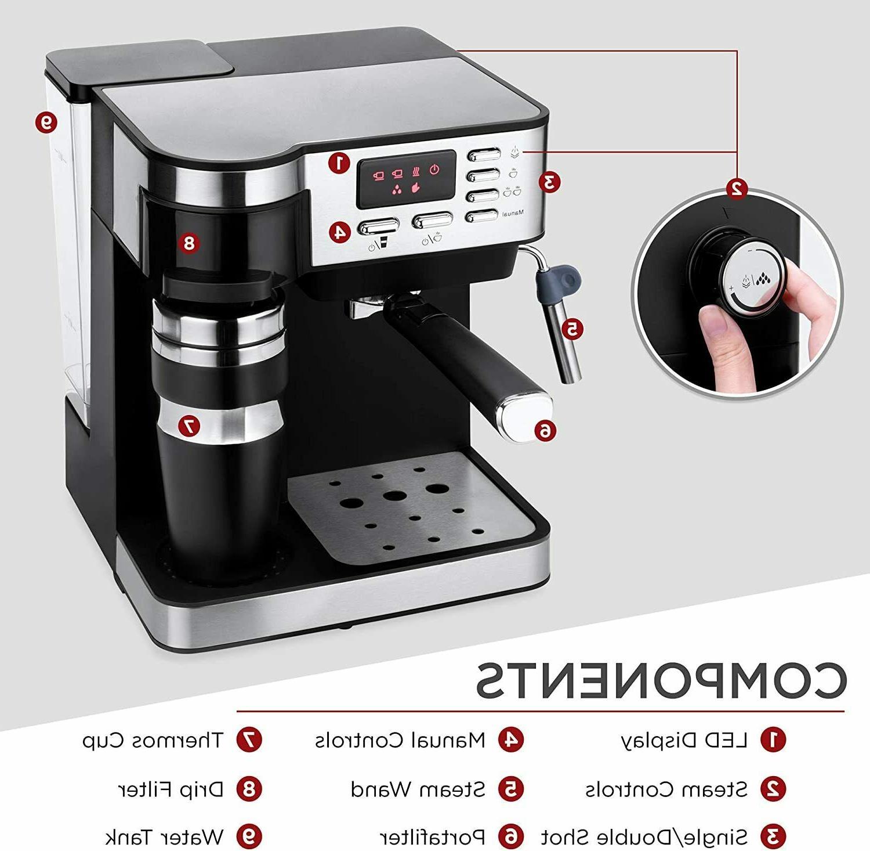 3 1 Espresso Coffee Machine Programmable 115-Bar Accessories
