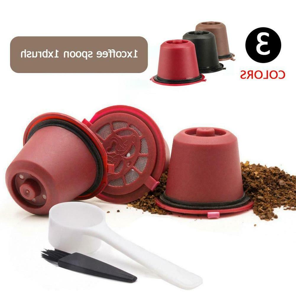 3pcs household refillable reusable coffee capsule filters