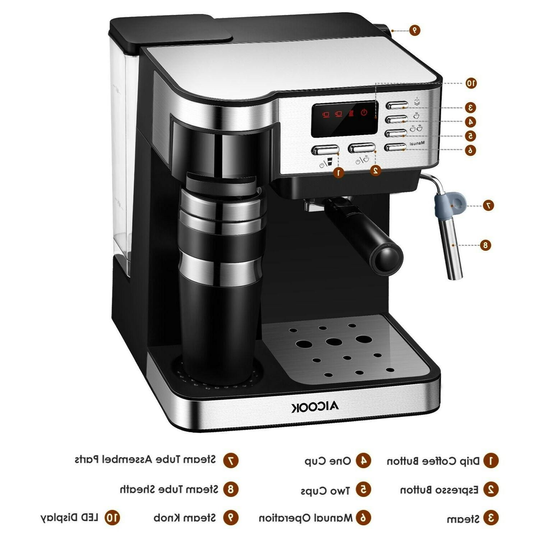 Aicook 6827 Semi-Automatic Espresso and Coffee Machine - Sil