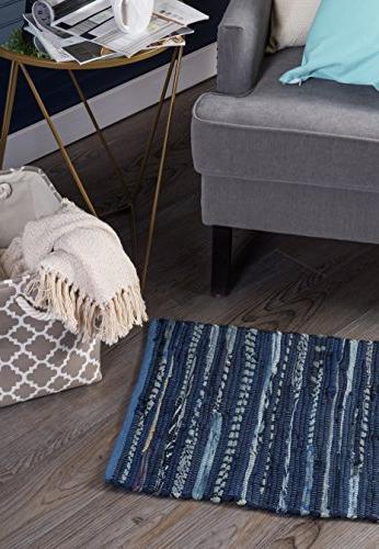 DII Reversible Runner Rug Living Hallways, or Nautical Blue