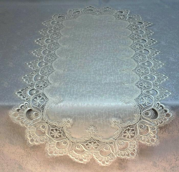 table runner or doily with antique white