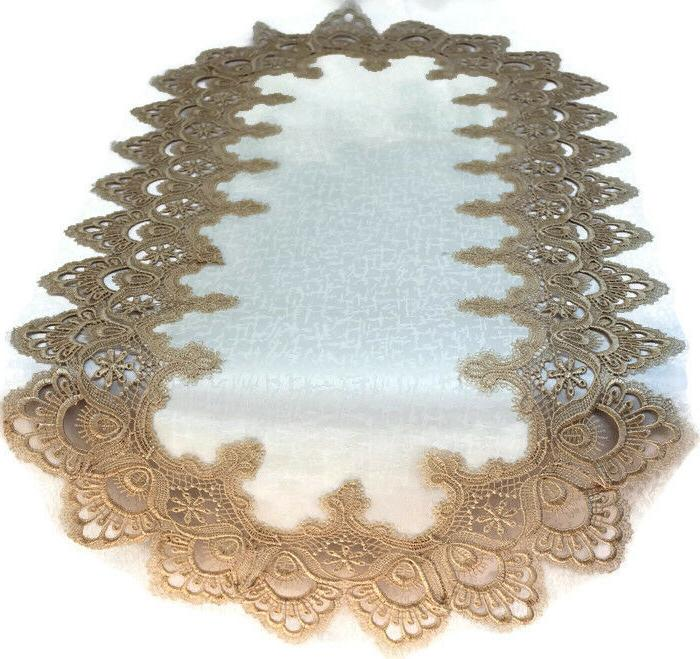 table runner or doily with gold european