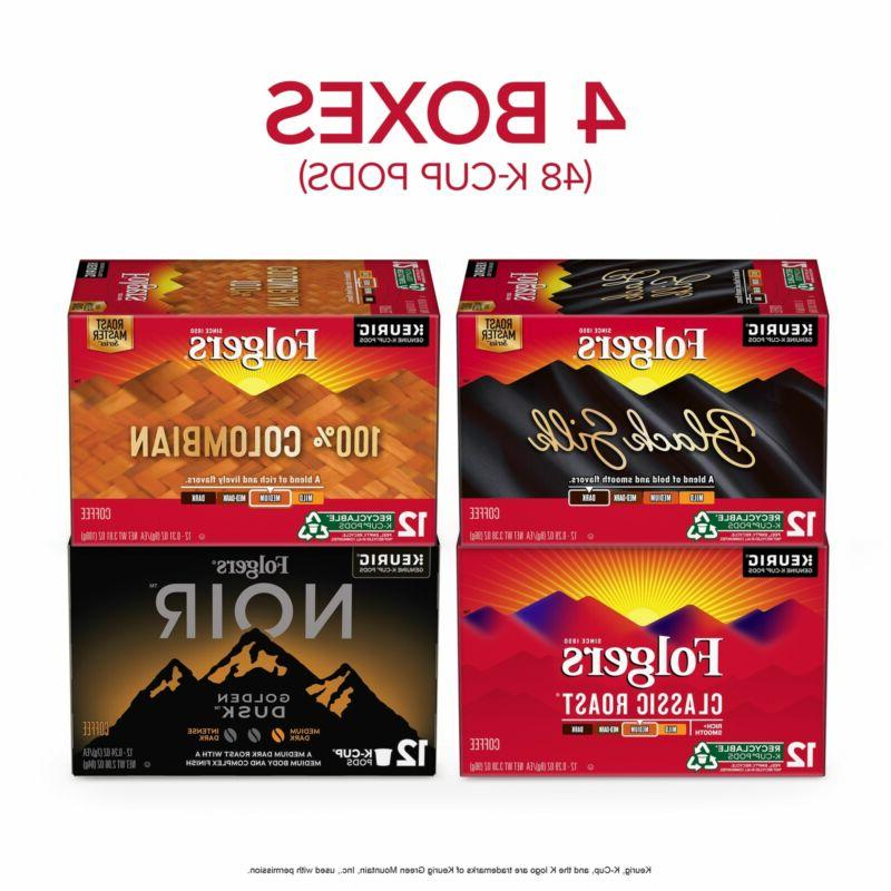 Folgers Variety Coffee Pods for Keurig Machines, 48