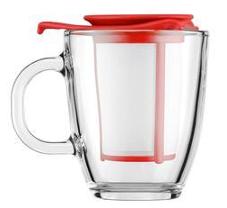 NEW BODUM YO YO SET MUG AND TEA INFUSER 340ml RED MICROWAVE