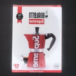 Supreme Bialetti Moka Express Italian 6 Cup Coffee Maker Red