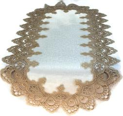 Doily Boutique Table Runner or Doily with Gold Lace and Anti